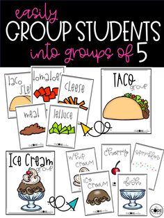 Need to make groups in your classroom? Try these fun ingredient cards. Students find all the ingredients in their group to make a food. How fun!