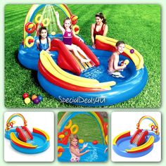 042f79a35ec Rainbow Ring Play Center Pool Inflatable Outdoor Kids Baby Swimming Ocean  Summer