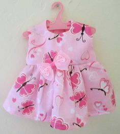 "13"" Baby Alive Doll Clothes Dress Beautiful Pink Butterflies 12 13"" 