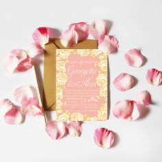 Elegant Dusty Pink and Gold Save the Date - Be My Guest