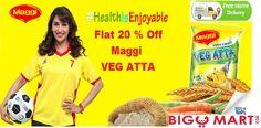 get 20 % flat on maggi veg atta on biggmart