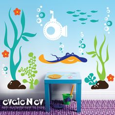 Underwater Wall Decals Fish Wall Sticker - Underwater Theme with Ray, Submarine, Seaweed and Fish Wall Stickers - PLUW010R. $119.00, via Etsy.