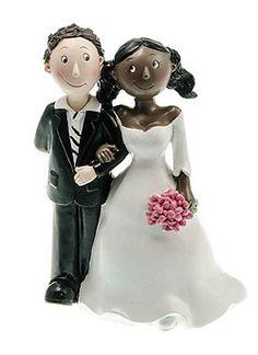 figurines mariage couple mixte femme noire homme blanc optez pour une douce figurine poser - Figurine Mariage Humoristique Pas Cher