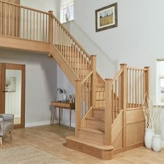 Our elegant slim oak spindle staircase renovation features evenly-spaced, slim spindles which open up the balustrade. It is a design classic, handcrafted to transform any space. Wooden Staircase Design, Rustic Staircase, Stair Banister, Timber Staircase, House Staircase, Oak Stairs, Home Stairs Design, Staircase Remodel, Staircase Makeover