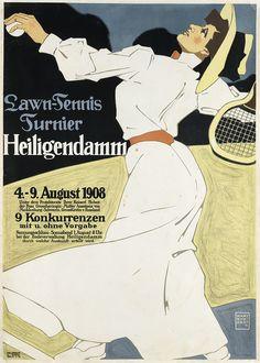 Poster promoting a lawn tennis tournament in Heiligendamm, by Hans Rudi Erdt, printed by Hollerbaum & Schmidt, Berlin. Vintage Advertisements, Vintage Ads, Vintage Graphic, Vintage Ephemera, Anastasia, Tennis Posters, Sports Posters, Tennis Pictures, Lawn Tennis