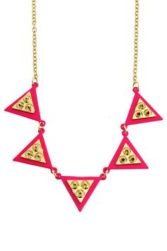 Studded Double-layered Triangle Pendant Necklace #Romwe