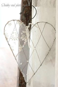 lace netted hanging heart
