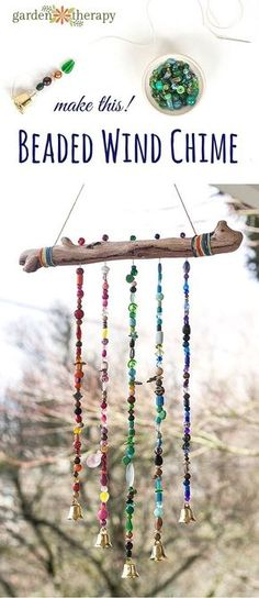 Add some extra jingle and sparkle to your backyard this year with a handmade beaded wind chime with bells. #gardentherapy #diy #windchime #beadwork #outdoordiyplans