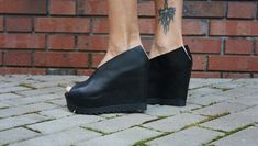 NEW Collection  Black Genuine Leather Wedges / Sexy by Aakasha