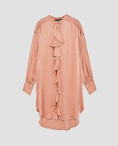 Image 8 of SATEEN SHIRT DRESS WITH RUFFLED TRIM from Zara