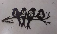 Perched Birds House Number Address Metal Sign, Wall decor, Metal Art, ANY NUMBERS - pinned by pin4etsy.com