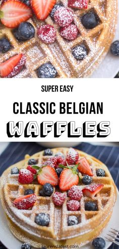 Belgian waffles are such a classic weekend breakfast. Grab a few pantry items and make these with this easy, fail-proof Belgian Waffle Recipe. Waffle Love Recipe, Easy Belgian Waffle Recipe, Belgian Waffle Mix, Waffle Recipes, Best Dessert Recipes, Fun Desserts, Sweet Recipes, Delicious Desserts, Breakfast Recipes