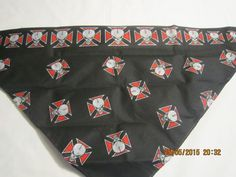 """CLEARANCE - BANDANA COOLER Extra Wide 3"""" Cooling Section Reusable Non-Toxic Cool Wrap / Neck Cooler  - Skulls - Red by ShawnasSpecialties on Etsy"""