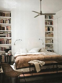 clean book collection! Love the bookshelves on both sides of the bed.... Bit maybe put a upholstered headboard behind the bed.... Like in a medium grey... PWETTY PWETTY!!!