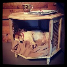 Antique end table turned into dog bed ♥