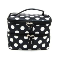 DuaFire Cosmetic Bag Double Layer Dot Pattern Travel Toiletry Bag Organizer With Mirror Black *** Visit the image link more details.