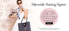 Sitewide Saving Spree. Take an extra 20% off everything when you spend $60 or more. Use code: SITESALE. www.youravon.com/lalbrecht