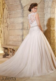 Plus Size Wedding Dresses 3181 Embroidered Lace Appliques on Soft Net with Crystal Beading