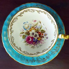 """Vintage teacup by Aynsley in lovely flower at the center of cup IDR 1575k  # http://harmonypiring16.blogspot.hk/"