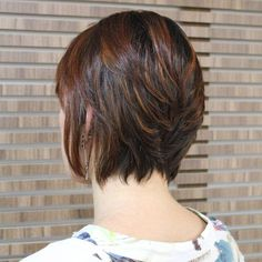 Dark Brown Bob With Auburn Highlights