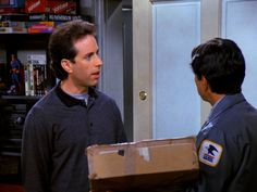 """Mailman: """"Are you refusing delivery?"""" Jerry: """"Maybe I am."""""""