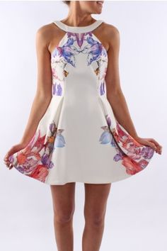 Keepsake - Take It All Mini Dress Ivory Floral A beautiful halter neck dress with an exposed back and gorgeous pleats. $199.95 AUD SHOP: http://www.jeanjail.com.au/ladies/keepsake-take-it-all-mini-dress-ivory-floral.html
