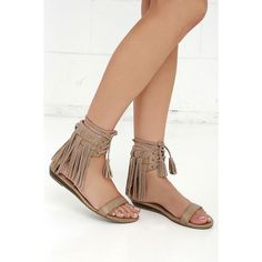 Very Volatile Aubrey Taupe Suede Leather Fringe Sandals ($70) ❤ liked on Polyvore featuring shoes, sandals, beige, toe strap sandals, fringe high heel shoes, very volatile sandals, suede sandals and beige sandals