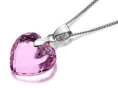 063384 - Silver pink crystal heart pendant @ £17.95