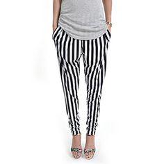 (NOL047-BLACK) Footless Baggy Stripe Pattern Stretchy Leggings