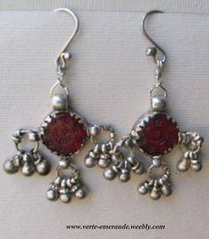 Anciennes Boucles,Verres gravés et Argent. Antique Silver Earrings | eBay