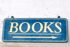 """Books"" sign, price upon request, available nationwide from Patina"