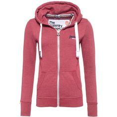 Superdry Orange Label Primary Zip Hoodie ($62) ❤ liked on Polyvore featuring tops, hoodies, pink, women, hooded zip sweatshirt, red zip up hoodie, orange hoodie, zip hoodies and pink hoodies