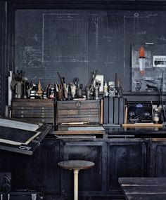It's black and moody. Somehow this makes me feel like I should be working on something very mechanical. Great inspiration for my bike shop!