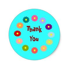 Wreath of Flowers Thank You Classic Round Sticker - birthday gifts party celebration custom gift ideas diy