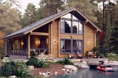 130 back porch designs perfect for everything 35 Mountain Home Exterior, Dream House Exterior, Barn House Plans, Log Cabin Plans, Log Cabin Homes, Log Cabins, Cabins And Cottages, House In The Woods, My Dream Home