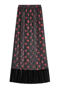 ALEXANDER MCQUEEN - Printed with a pretty red floral design and cut with sharp pleats, this longer-length silk skirt from McQ Alexander McQueen is trimmed with decadent black velvet for the most opulent finish. Styling? Try with sturdy ankle boots for youthful impact | STYLEBOP