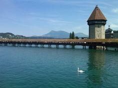 Chapel Bridge Lucerne, Switzerland.  I've walked it!