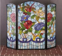 Buy the Meyda Tiffany 27234 Tiffany Glass Direct. Shop for the Meyda Tiffany 27234 Tiffany Glass Stained Glass / Tiffany Fireplace Screen from the Country Living Collection and save. Stained Glass Fireplace Screen, Brass Fireplace Screen, Fireplace Cover, Fireplace Screens, Stained Glass Panels, Stained Glass Art, Mosaic Glass, Open Fireplace, Fireplace Wall