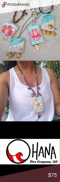 Hand painted necklaces with real seashell accents I took mini canvas and turned them into wearable art! Your choice, comment for pricing! Art painting beach tropical lotus scuba dive boho hippie seashell The Ohana Dive Company Jewelry Necklaces