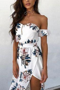 Random Floral Print Off Shoulder Splited Hem Maxi Dress in White