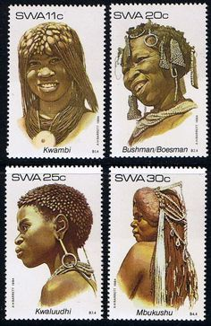 South West Africa 1984 Traditional Headdresses Set Fine Mint    SG 427 30 Scott 524 7 Other African and British Commonwealth Stamps HERE!