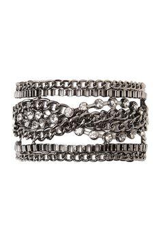 Hematite Chain With Rhinestone Twist Bracelet