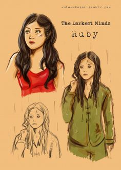 I tried to draw my version of Ruby character in The Darkest Minds. I hope that you like it The Darkest Minds Ruby Book Tv, Book Series, Ya Books, Good Books, Library Books, Hunger Games, The Darkest Minds Movie, Queen Of The Tearling, Black Betty