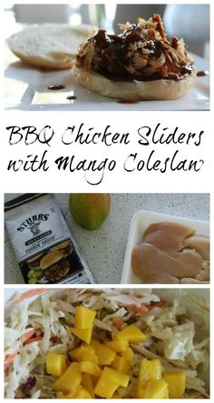 BBQ Chicken Sliders with Mango Coleslaw on Having Fun Saving