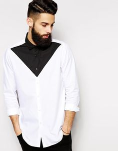 ASOS | ASOS Smart Shirt in Long Sleeves with Triangle Cut and Sew at ASOS