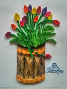 Quilled bunch of tulips quilled paper curling art.Sheecreations