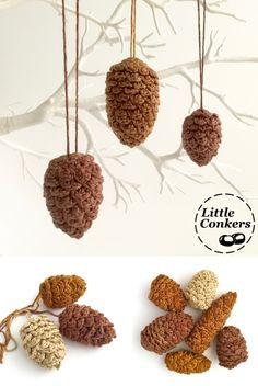 Hand-crocheted hanging pinecone ornaments in ethically-produced, hand-dyed bamboo yarn.