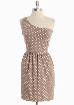 """Graceful Demeanor Pocket Dress 34.99 at shopruche.com. Alluring and sweet, this taupe knit dress is complimented with textured cream polka dots, an elasticized waist, and side pockets. Finished with tailored lines and the perfect hint of stretch for a comfortable and flattering silhouette. Partially lined.  94% Polyester, 6% Spandex , Made in USA, 33.5"""" length from top of shoulders"""