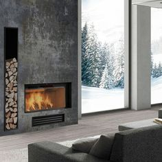 9 Fascinating Useful Ideas: Fireplace Design 2017 fireplace living room house plans.Limestone Fireplace Coffee Tables farmhouse fireplace and tv.Fireplace And Mantels Window. Concrete Fireplace, Home Fireplace, Fireplace Surrounds, Fireplace Mantels, Fireplace Ideas, Fireplace Modern, Traditional Fireplace, Classic Fireplace, Grey Fireplace