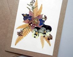 GREETING CARD Pressed Flowers Colorful Garden by MyHumbleJumble